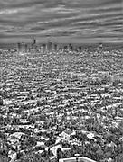 Los Angeles, CA, Cityscape, Sunset, Skyline, Twilight, HDR, Surreal B_W