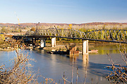 Missouri MO USA, A bridge over the Missouri river in Hermann, MO.