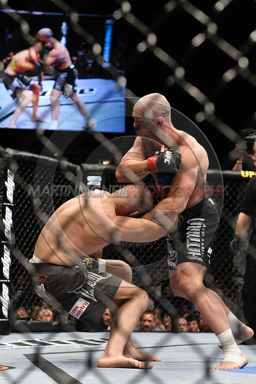 """LAS VEGAS, NEVADA, MAY 24, 2008: Keith Jardine (left) is knocked to the canvas by Wanderlei Silva during """"UFC 84: Ill Will"""" inside the MGM Grand Garden Arena in Las Vegas"""