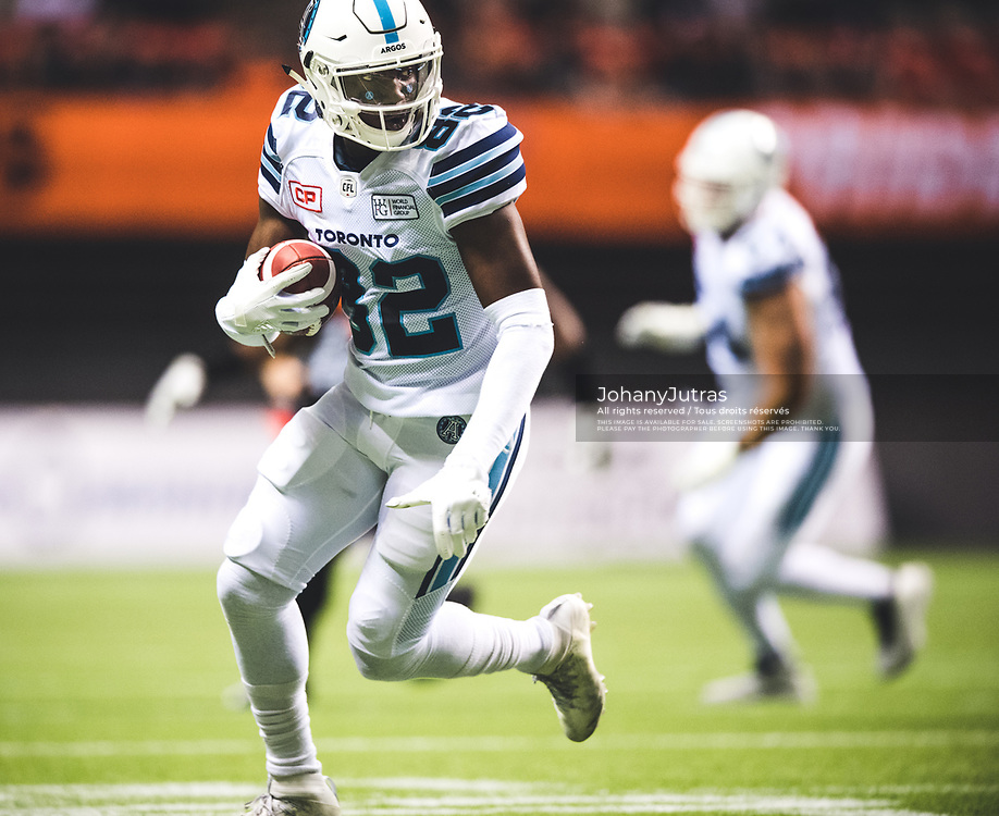 Malcom Williams (82) of the Toronto Argonauts during the game against the BC Lions at BC Place Stadium in Vancouver, BC, Saturday Nov. 4, 2017. (Photo: Johany Jutras)