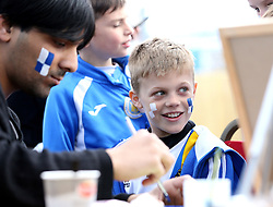 Bristol Rovers fans have their faces painted - Photo mandatory by-line: Robbie Stephenson/JMP - 16/04/2016 - BASKETBALL - SGS Wise Arena - Bristol, England - Bristol Flyers v London Lions - British Basketball League