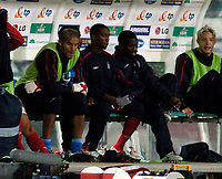 Fotball<br /> 08.09.2004<br /> Polen v England<br /> Foto: SBI/Digitalsport<br /> NORWAY ONLY<br /> <br /> England's David James (L) wonders if his blunder against Austria could mean the end of his England career as he watches the game against Poland from the bench