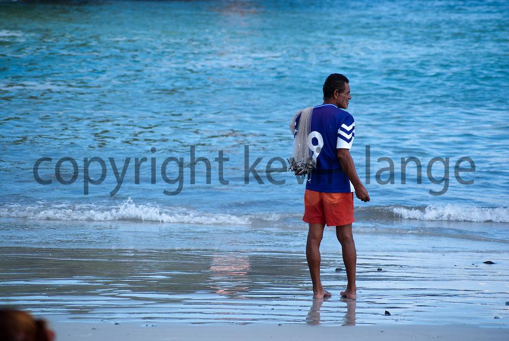 brazilian beach fisherman in cabo frio, rio de janeiro, brazil