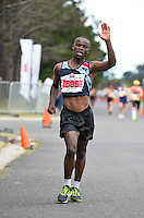 CAPE TOWN, SOUTH AFRICA - OCTOBER 08: Mtunzi Mnisi of AGN wins the senior mens 50km during the ASA 50km and Interprovincial Race Walking Championships at Youngsfield Military base on October 08, 2016 in Cape Town, South Africa. (Photo by Roger Sedres/Gallo Images)