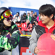 Xuetong Cai, China, (left), winner of the Ladies Half Pipe and Yiwei Zhang, China, second, in the Men's Half Pipe Finals in the LG Snowboard FIS World Cup, during the Winter Games at Cardrona, Wanaka, New Zealand, 28th August 2011. Photo Tim Clayton..