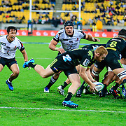 Jamie Booth at the base of the scrum during the Super Rugby union game between Hurricanes and Sunwolves, played at Westpac Stadium, Wellington, New Zealand on 27 April 2018.   Hurricanes won 43-15.