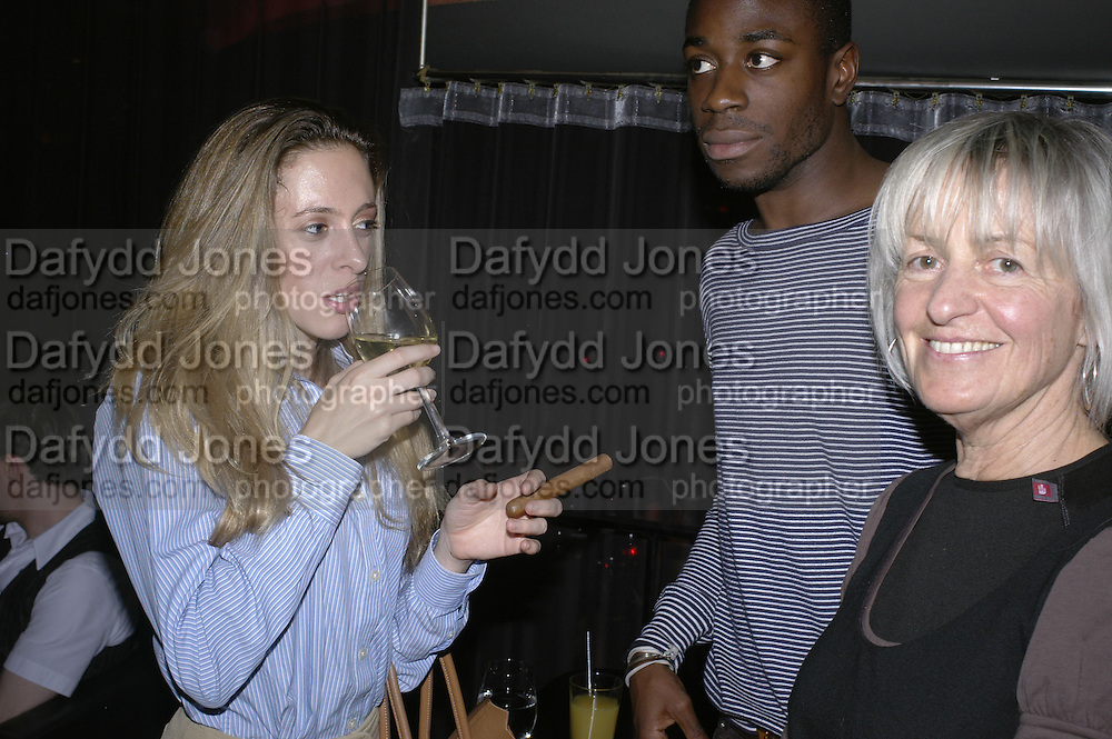 Jessica Patterson, Caroline Baker and Ini Eno-Amooqvaye, Drinks party to launch a new Thomas Pink shirt called The Mogul which has a pocket which houses one's cigar. Hostyed by the Spectator and Thomas Pink. Floridita. Wardour St. London. 1 November 2006. -DO NOT ARCHIVE-© Copyright Photograph by Dafydd Jones 66 Stockwell Park Rd. London SW9 0DA Tel 020 7733 0108 www.dafjones.com