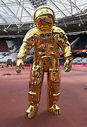 Jul 20, 2019; London, United Kingdom; Detailed view Omega Timing golden astronaut statue to commemorate the 50th anniversary of the Apollo 11 moon landings on display at the London Anniversary Games at London Stadium at  Queen Elizabeth Olympic Park.