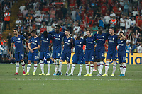ISTANBUL, TURKEY - AUGUST 14: Chelsea players look on during penalty shoot-out during the UEFA Super Cup match between Liverpool and Chelsea at Vodafone Park on August 14, 2019 in Istanbul, Turkey. (Photo by MB Media/Getty Images)
