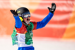 PYEONGCHANG, SOUTH KOREA - FEBRUARY 16:  Michela Moioli of Italy celebrates winning gold in the Ladies' Snowboard Cross Big Final on day seven of the PyeongChang 2018 Winter Olympic Games at Phoenix Snow Park on February 16, 2018 in Pyeongchang-gun, South Korea.  Photo by Ronald Hoogendoorn / Sportida