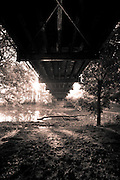 A view from underneath the Old Orange Road bridge in Powell, OH.  Black and White.