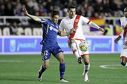 01.04.2016, Estadio de Vallecas, Madrid, ESP, Primera Division, Rayo Vallecano vs Getafe CF, 31. Runde, im Bild Rayo Vallecano's Miku (r) and Getafe's Emi Buendia // during the Spanish Primera Division 31th round match between Rayo Vallecano and Getafe CF at the Estadio de Vallecas in Madrid, Spain on 2016/04/01. EXPA Pictures © 2016, PhotoCredit: EXPA/ Alterphotos/ Acero<br /> <br /> *****ATTENTION - OUT of ESP, SUI*****