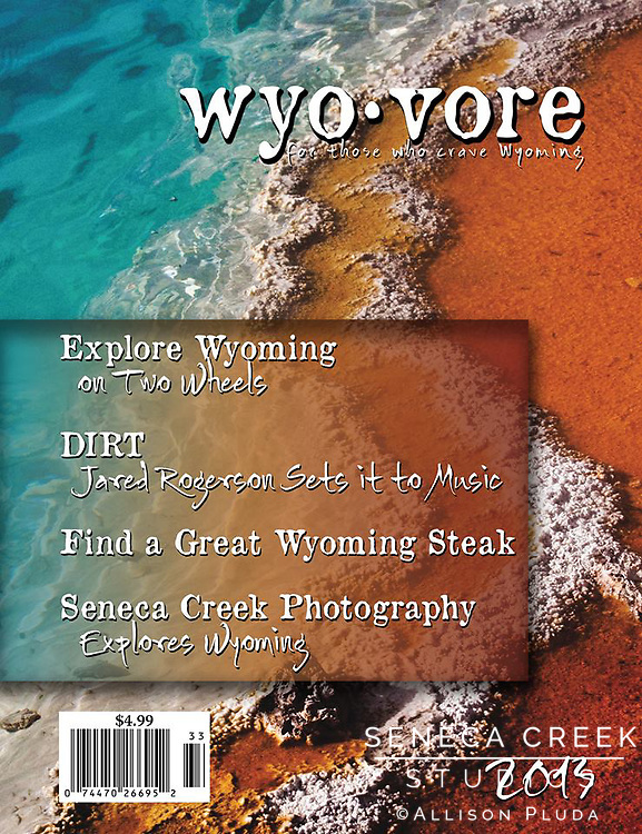 """West Thumb Hot Spring Curves, Yellowstone National Park, WY 091017"" as cover of the 2013 issue of Wyovore, the bookstore compliment to Wyoming Lifestyle Magazine and featured as spotlight article entitled ""Seneca Creek Photography explores Wyoming."" Available for purchase at http://www.wyovore.com/"