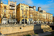 City scape of Gerona (Girona), Spain in early spring.