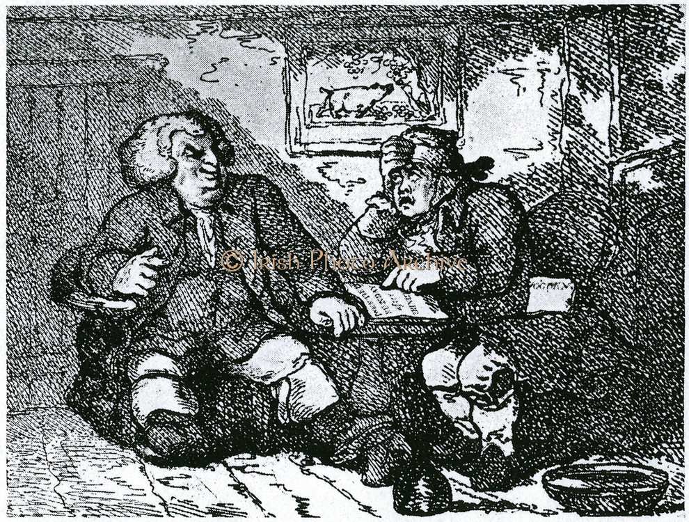 Samuel Johnson (1709-1784)  English author and lexicographer. Johnson and James Boswell (1740-1795) his friend and biographer,  recovering from a hangover after a night on the town. Boswell has a 'Bible' open and readss 'Be not filled with wine wherein is excess'. Caricature by Rowlandson.