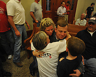Mike Roberts celebrates being elected supervisor in District 5 with his wife Ashley, mother Celia, and son Max at the Lafayette County Courthouse in Oxford, Miss. on Tuesday, November 8, 2011.