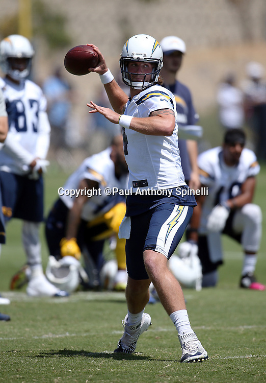 San Diego Chargers quarterback Zach Mettenberger (4) throws a pass during the Chargers 2016 NFL minicamp football practice held on Tuesday, June 15, 2016 in San Diego. (©Paul Anthony Spinelli)