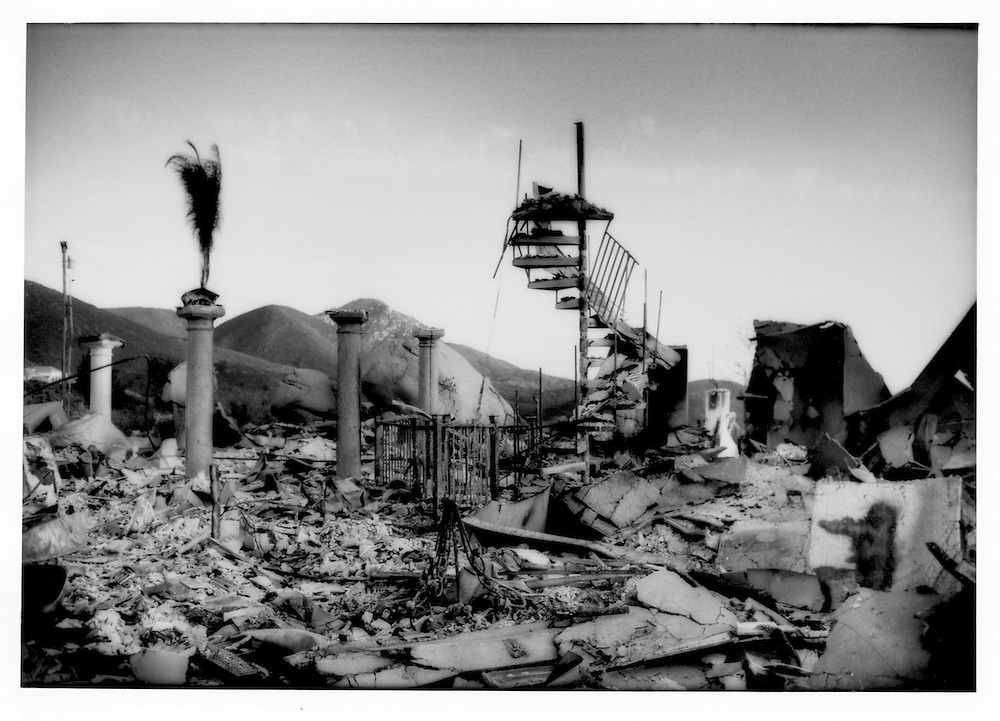 """Luxury home burnt to the ground in 2003 during the """"Cedar Fire"""", San Diego County's largest wildfire in history.  Great quantities of water are needed to fight wildfires.  Although the """"Cedar Fire"""" was the result of arson, wildfires are a part of the natural cycle in Southern California's semi-arid chaparral environment."""