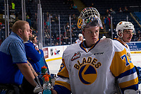 KELOWNA, BC - DECEMBER 01:  Nolan Maier #73 of the Saskatoon Blades hydrates at the bench during warm up against the Kelowna Rockets at Prospera Place on December 1, 2018 in Kelowna, Canada. (Photo by Marissa Baecker/Getty Images)