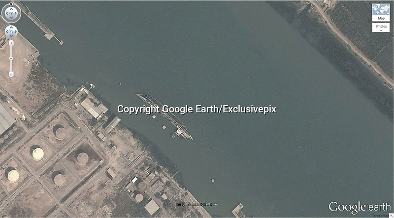 Amazing captures from Google earth<br /> Photo Shows: Shipwreck<br /> 30.541634, 47.825445 Basrah, Iraq<br /> &copy;Google Earth/Exclusivepix