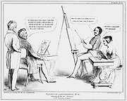 A young Queen Victoria and Prince Albert join the Duke of Wellington for some holiday sketching and painting. Wellington working on John Bull watched by George Hayter, portrait and historical painter to the queen from 1827. Cartoon by John Doyle (1797-1868) published 1840.
