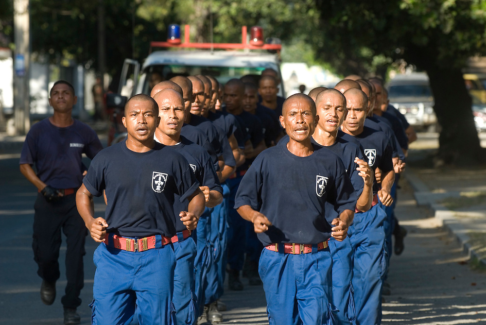 East Timorese Bombeiros Cadets (Fire fighters) train for their upcoming Graduation on May 20 2007.