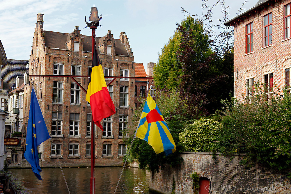 Europe, Belgium, Brugges. Flags in Brugges.
