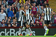 \newcastle players celebrate an own goal 0-1 during the EFL Sky Bet Championship match between Aston Villa and Newcastle United at Villa Park, Birmingham, England on 24 September 2016. Photo by Alan Franklin.