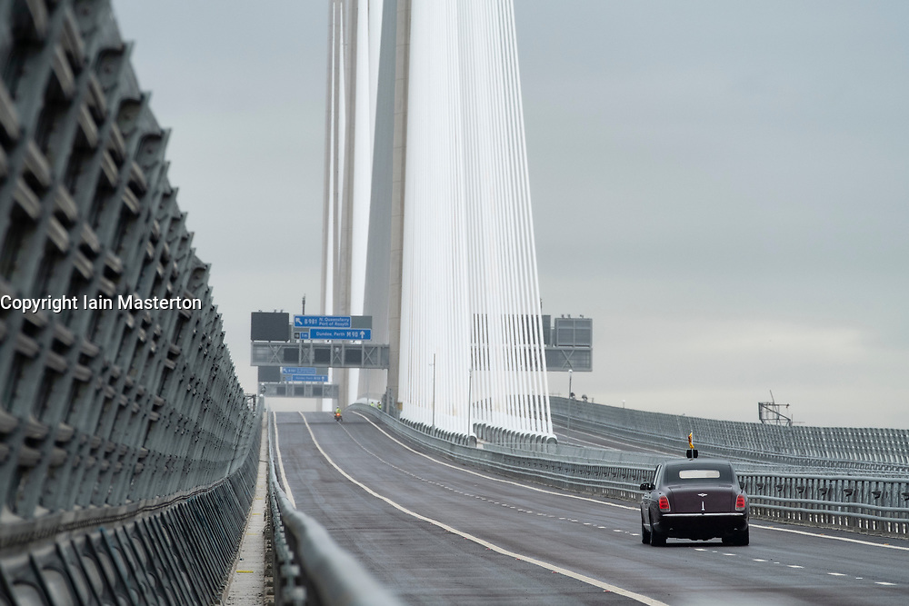 HRH Queen Elizabeth drives across  the Queensferry Crossing Bridge after the official opening  on 4 September 2017.
