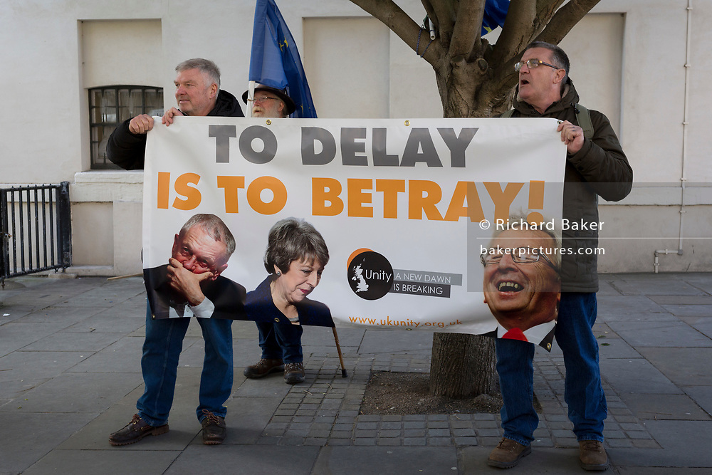 On the day that MPs in Parliament vote on a possible delay on Article 50 on EU Brexit negotiations by Prime Minister Theresa May, Brexiteer Leavers from Unity protest on College Green, on 14th March 2019, in Westminster, London, England.