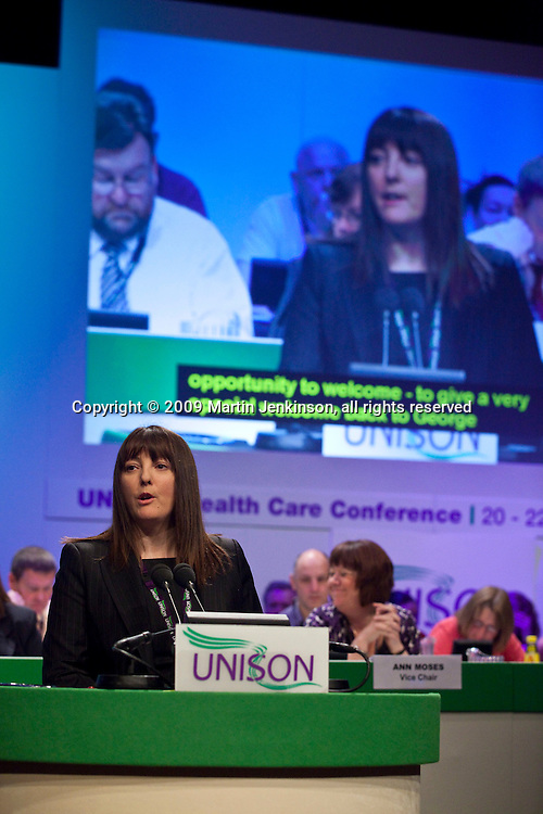 Lilian Mercer, Chair Unison Health Care Service Group, speaking at the Unions Health Care Conference..© Martin Jenkinson, tel 0114 258 6808 mobile 07831 189363 email martin@pressphotos.co.uk. Copyright Designs & Patents Act 1988, moral rights asserted credit required. No part of this photo to be stored, reproduced, manipulated or transmitted to third parties by any means without prior written permission.