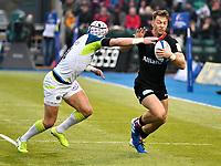 Rugby Union - 2019 / 2020 European Rugby Heineken Champions Cup - Pool Four: Saracens vs. Ospreys<br /> <br /> ALewington; of Saracens tackled by H. Dirksen, of Ospreys, at Allianz Park.<br /> <br /> COLORSPORT/WINSTON BYNORTH
