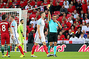 England defender, Gary Cahill (05) yellow card during the Friendly International match between England and Portugal at Wembley Stadium, London, England on 2 June 2016. Photo by Matthew Redman.