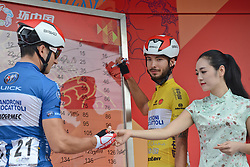 September 16, 2016 - Wuhan, China - The Yellow Jersey, Mattia De Marchi (Right) and Marco Benfatto, both from Androni-Giocattoli Team, sign in ahead of the final sixth stage, 99.6km Wuhan Xinzhou Circuit race, of the 2016 Tour of China 1..On Friday, 16 September 2016, in Xinzhou, Wuhan , China. (Credit Image: © Artur Widak/NurPhoto via ZUMA Press)