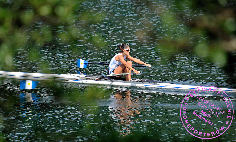 MARIA ABALO (ARGENTINA) COMPETES IN THE WOMEN'S SINGLE SCULLS DURING REGATTA ROWING WORLD CUP ON ROTSEE LAKE IN LUCERN, SWITZERLAND...SWITZERLAND , LUCERN , JULY 10, 2010..( PHOTO BY ADAM NURKIEWICZ / MEDIASPORT )..PICTURE ALSO AVAIBLE IN RAW OR TIFF FORMAT ON SPECIAL REQUEST.