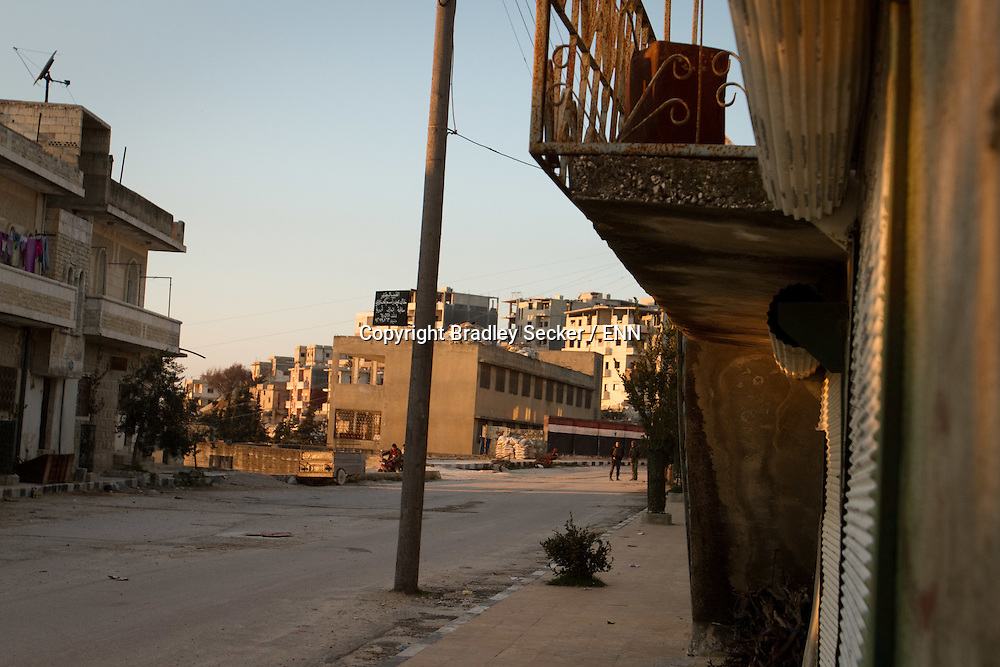 A former school is now home to Syrian military snipers and personnel in the besiged town of Al Janoudiyah, Idlib province, Syria