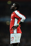 Emmanuel Eboue shows his  frustration after another missed chance during the UEFA Champions League First knockout round, First Leg match between Arsenal and A.S. Roma at Emirates Stadium on February 24, 2009 in London, England