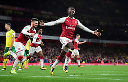 Edward Nketiah of Arsenal celebrates.- Mandatory by-line: Alex James/JMP - 24/10/2017 - FOOTBALL - Emirates Stadium - London, England - Arsenal v Norwich City - Carabao Cup