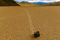 The Racetrack, large dry lake playa where rocks leave trails where they slide across slick clay; Death Valley NP., CA