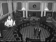Mr Angus McDonnell (left), President of the Stock Exchange and Mr Owen Kealy, Managing Director, Waterford Glass Group, on the Stock Exchange trading floor to view the chandeliers from below.<br />