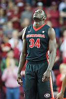 FAYETTEVILLE, AR - MARCH 4:  Derek Ogbeide #34 of the Georgia Bulldogs waits for play to begin during a game against the Arkansas Razorbacks at Bud Walton Arena on March, 2017 in Fayetteville, Arkansas.  The Razorbacks defeated the Bulldogs 85-67.  (Photo by Wesley Hitt/Getty Images) *** Local Caption *** Derek Ogbeide