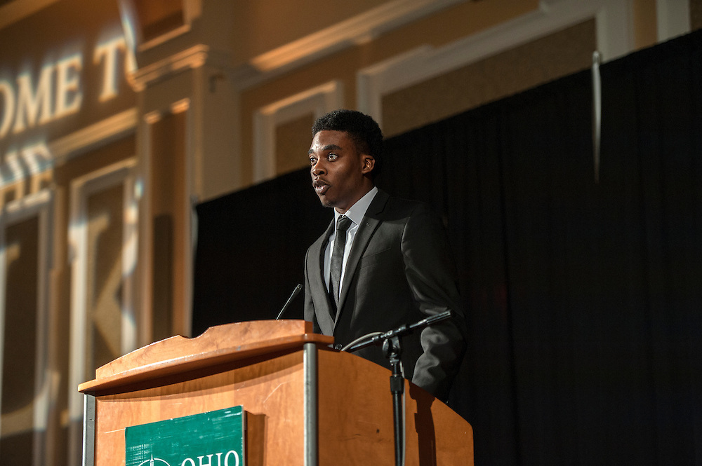 Jerry Mobley, a senior studying Electrical Engineering and member of Alpha Phi Alpha fraternity introduces the first speaker at the Martin Luther King Jr Brunch in Baker University Ballroom on Monday, January 19.