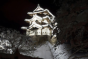 Photo shows Hirosaki Castle blanketed in snow in Hirosaki, Aomori Prefecture, in the Tohoku region ofJapan on 17 Jan. 2013. The castle was established in 1612. Photo: Robert Gilhooly..