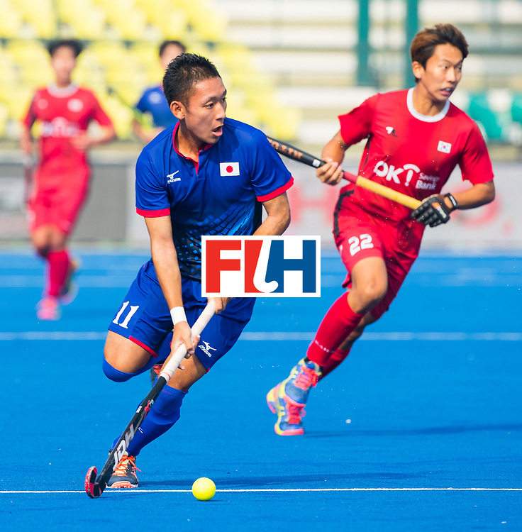 LUCKNOW (India) -   Junior World Cup hockey  U21 for men . JAPAN v KOREA   for the 13th/14th place. Shinichi Kamezaki (JPN) . right Homin Kim (Kor) .  COPYRIGHT  KOEN SUYK