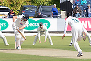 Muhammad Abbas bowling to Alex Lees during the Specsavers County Champ Div 2 match between Durham County Cricket Club and Leicestershire County Cricket Club at the Emirates Durham ICG Ground, Chester-le-Street, United Kingdom on 18 August 2019.