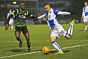 Bristol Rovers Billy Bodin (10) crosses the ball into the box during the EFL Sky Bet League 1 match between Bristol Rovers and Doncaster Rovers at the Memorial Stadium, Bristol, England on 23 December 2017. Photo by Gary Learmonth.