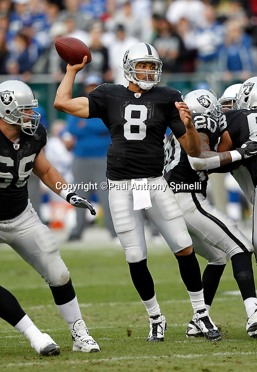 Oakland Raiders quarterback Jason Campbell (8) throws a pass good for a second quarter first down during the NFL week 16 football game against the Indianapolis Colts on Sunday, December 26, 2010 in Oakland, California. The Colts won the game 31-26. (©Paul Anthony Spinelli)