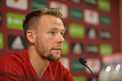 BUDAPEST, HUNGARY - Monday, June 10, 2019: Wales' Chris Gunter during a press conference ahead of the UEFA Euro 2020 Qualifying Group E match between Hungary and Wales at the Ferencváros Stadion. (Pic by David Rawcliffe/Propaganda)