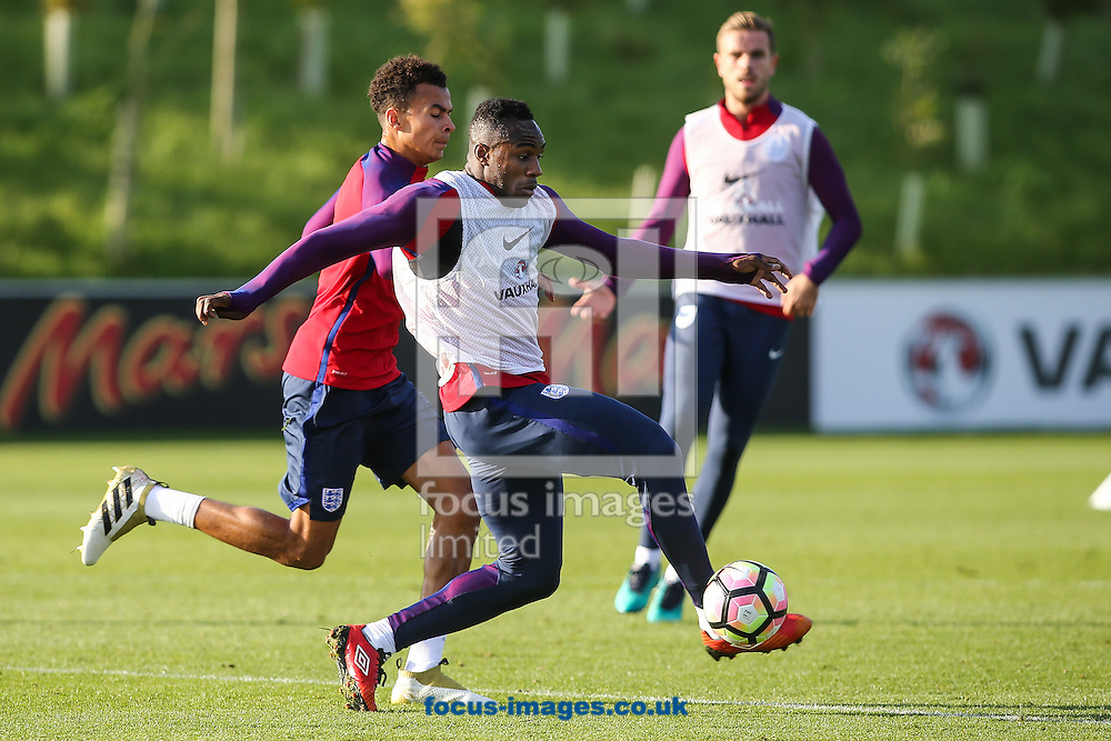 Michail Antonio (West Ham) (right) holds off Dele Alli (Tottenham) during the England training session at St Georges Park, Burton upon Trent<br /> Picture by Andy Kearns/Focus Images Ltd 0781 864 4264<br /> 04/10/2016