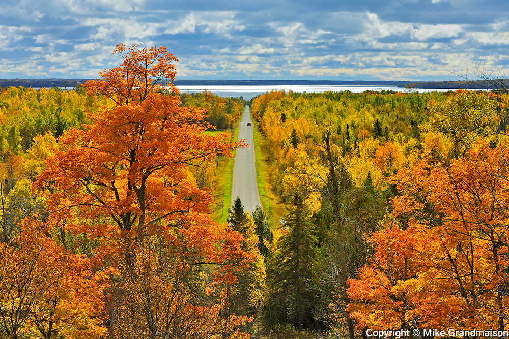 Country road in autumn color<br /> Manitoulin Island<br /> Ontario<br /> Canada
